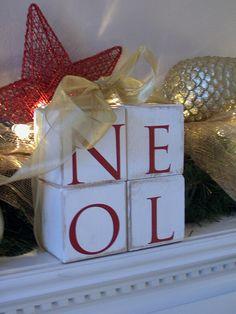 Letter Blocks/ Wood Block Letters/ Noel/ Hand Painted Blocks/Home Decor/Shelf Sitter/Mantle Wood Block Letters/Sign/Painted Wood Blocks/ on Etsy, $35.00