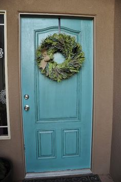 """Newly Painted Front Door! """"Backstroke"""" from Valspar."""