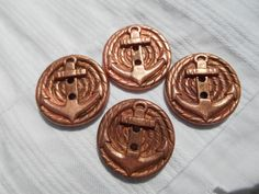 4 French  Copper Coins Anchor Buttons Set of by SophieLadyDeParis, $14.00