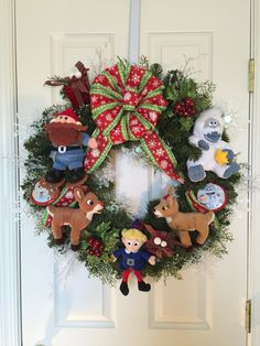 Custom Made Rudolph the Red-Nosed Reindeer, Clarice, Yukon Cornelius, Hermy and Bumble Christmas Wreath by alwaysakidatheart on Etsy