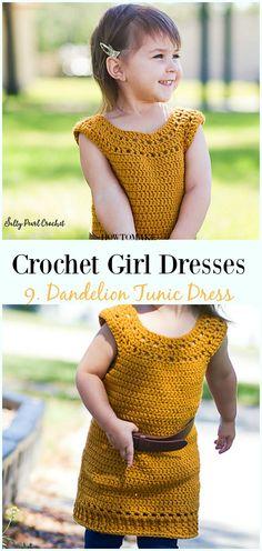 Crochet Dandelion Tunic Dress Free Pattern - Girl Dress Free Crochet Patterns