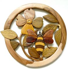 Bee Dogwood Flower Intarsia Wood Wall Art Home Decor Plaque Lodge New