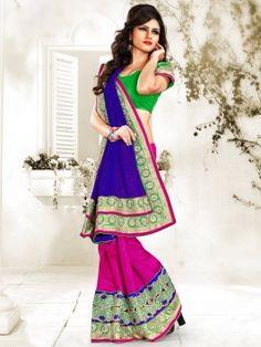 Blue And Pink Bhagalpuri Jacquard Saree With Butta And Stone Work