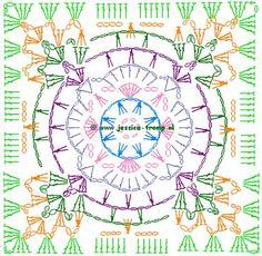 Transcendent Crochet a Solid Granny Square Ideas. Inconceivable Crochet a Solid Granny Square Ideas. Crochet Squares, Crochet Mandala Pattern, Crochet Motifs, Crochet Blocks, Granny Square Crochet Pattern, Crochet Diagram, Crochet Stitches Patterns, Crochet Art, Crochet Granny