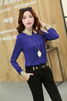 Long Sleeve, Chiffon, Elegant Blouse, Collar, Necklace, YRB2101, YRB Fashion, Good-Looker, Free Shipping, online Clothing, Womens