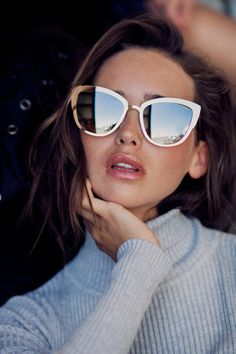 c4a44098a04 Carolina Sanchez models Quay s Super Girl sunglasses 2016 lookbook Summer  2017 Sunglasses