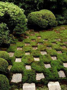 Mirei Shigemori's checkerboard moss garden at Tofuku-ji. Tips for making a moss garden. Moss Garden, Garden Paths, Garden Landscaping, Garden Tips, Garden Grass, Succulent Planters, Green Garden, Hanging Planters, Succulents Garden
