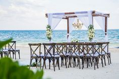 Bohemian beach ceremony #DreamsRivieraCancun #destinationsweddings #Mexico