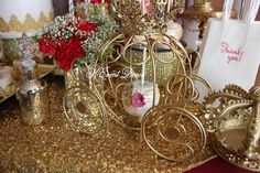 Gold decorations at a princess birthday party! See more party planning ideas at CatchMyParty.com!