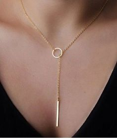 Long Bar Necklace Gold Plated Chains Choker Necklace: