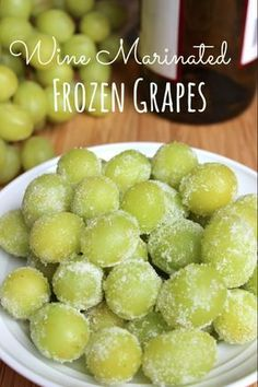 Wine Marinated Frozen Grapes. Simple with only 3 ingredients. Great for parties! #grapes #wine #client