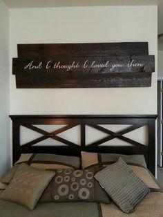 Reclaimed wood with wedding lyrics