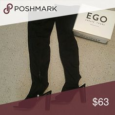 Thigh high, open toe boots Knit black boots with cut out heel and open toe. 5 inch heel Shoes Over the Knee Boots