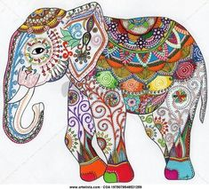 """Elefante"" by G-ly. Elephant Colour, Elephant Love, Elephant Art, Dot Painting, Painting & Drawing, Gravure Illustration, Motifs Animal, Indian Elephant, Button Crafts"