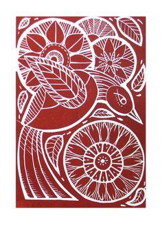 Flight -Original Handprinted Red Linocut Print. £23.00, via Etsy.
