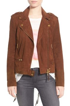 Genuine Leather Suede Moto Jacket by Pam & Gela on @nordstrom_rack