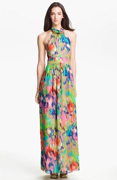 Eliza J Halter Print Chiffon Maxi Dress available at Nordstrom    I like the print how it looks like watercolor, wish it wasn't a halter (bc I don't think halters are appropriate at weddings unless they're hippies or you're at a beach) or that bright of a print, and I like how there's enough room for the gown to flow when you walk.