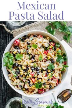 Mexican Pasta Salad with creamy spicy dressing and corn beans and cilantro. It's a healthy side dish to serve cold with your next cookout! Cookout Side Dishes, Healthy Side Dishes, Side Dish Recipes, Dinner Recipes, Potluck Dishes, Mexican Pasta, Mexican Salads, Taco Salads, Beef Recipes