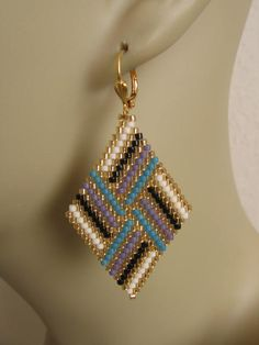 Bead Woven Diamond Shape Earrings Turquoise/Purple by pattimacs; like the pattern and colors