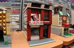 Custom City Fast Food Fried Chicken Restaurant Model built with Real LEGO (R) Bricks