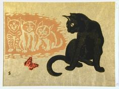 Tokuriki Tomikichiro, Cats and butterfly