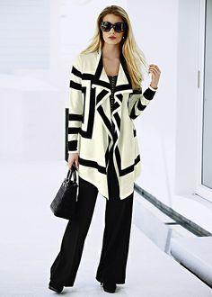 Monochrome knit cardigan | Coats & jackets | Womens Clothing | bonprix