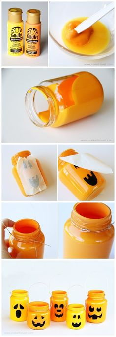 Pumpkin Jars: Instead of the tape on the outside going to try to put it on the inside, peel off and put candle inside