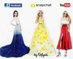 Fashion illustration ans social networks facebook, YouTube, snapchat