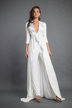 Shop couture dresses from USA based fashion designer: occasion dresses, long evening gowns, celebrity dresses, Red Carpet Outfits, runway outfits and Show Stopper Dresses Satin Jumpsuit, Jumpsuit Dress, Bridal Pants, Wedding Pantsuit, Wedding Dresses, Bride Suit, Mother Of Bride Outfits, Long Evening Gowns, Stretch Satin