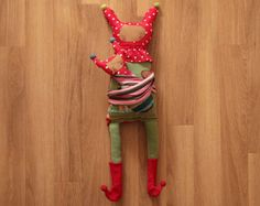 Stuffed Reclaimed Fabric Doll - Red Boots Amanita
