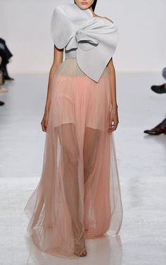 New York Fashion Week, preorder Delpozo Spring 2015 Runway Trunkshow Look 35- Peach Pearl Pink Silk Tulle Gown