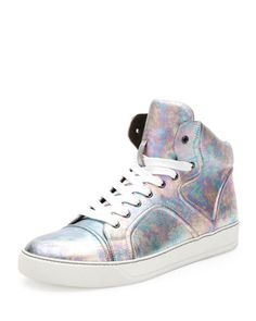 N2R26 Lanvin Pearlized Leather High-Top Sneaker