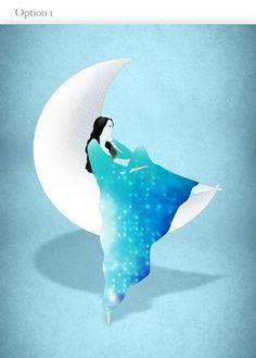 Cancer Zodiac, June July Birthday, Astrology, Girl Art Print, Moon. $20.00, via Etsy.