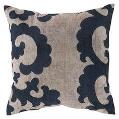 Lend a pop of style to your sofa, arm chair, or bedding with this charming pillow, showcasing a scrolling motif in navy. Made in the USA.  ...