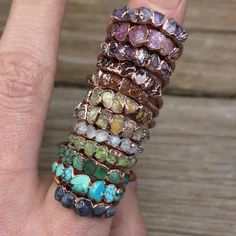 Raw birthstone ring / Birthstone stacking ring / Rough stone rings / Custom birthstone ring / All birthstones / Gemstone stacking rings - Jewelry Rings Diamond Cluster Engagement Ring, Diamond Wedding Bands, Bling Bling, Copper Jewelry, Fine Jewelry, Gold Jewellery, Aquamarin Ring, Birthstone Stacking Rings, Rings For Her
