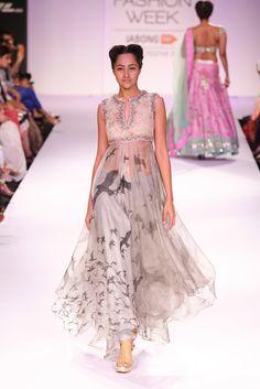 Anushree Reddy Cream & Grey #Suit At Lakme Fashion Week 2014. simply gorgeous