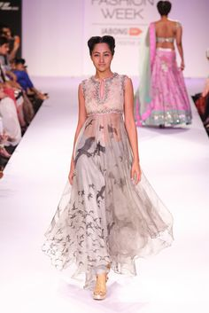 Anushree Reddy Cream & Grey #Suit At Lakme Fashion Week 2014.