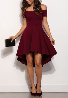 Only need one glance, you would be attracted by this wine red dress. The most eye-catching is its boat neck and unique hem of the dress. Get one for the coming festivals and parties at Fichic.com!