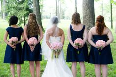 Bride with Bridesmaids in Different Style Dresses- Navy and Pink Wedding