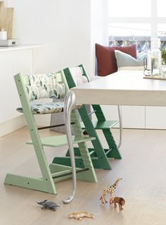 The Tripp Trapp® High Chair by Stokke is one of the most versatile wooden high chairs available. Made of solid European beech wood, its intelligent design grows with your child, providing a comfortable, ergonomic seat at any age.