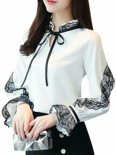 Buy Women's Blouse Stand Collar Long Flare Sleeve Lace Patched Bow Top & Blouses - at Jolly Chic Source by deadsarah Girls Fashion Clothes, Modest Fashion, Fashion Dresses, Classy Outfits, Stylish Outfits, Sleeves Designs For Dresses, Blouse Outfit, Fashion Sewing, Elegant Outfit