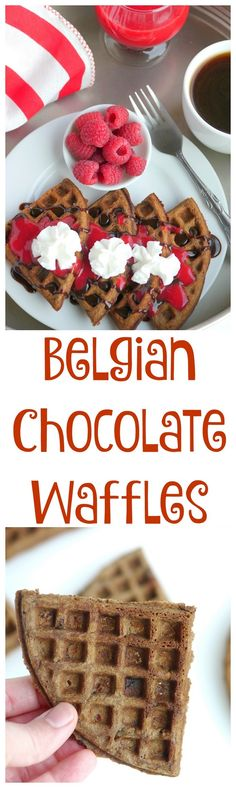 Belgian Chocolate Waffles with Homemade Raspberry Sauce from NoblePig.com. Weekend brunch and breakfast just got so much better.