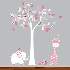 Nursery Wall Decal Pink Baby Tree with Animals by wallartdesign, $99.00
