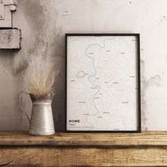 Premium Map Poster of Rome Italy - Subtle Ski Map - Unframed
