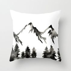Pillow with Insert . The Wild . Geometric Pillow . Mountains Forest Pillow . Black White . Modern