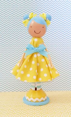 Daphne Miniature Wooden Clothespin Doll by SugarlandDollHouse