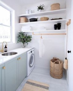 Home Interior Industrial 35 Elegant Laundry Room Design Decor Ideas laundryroom laundryroomdesign la animal Laundry Decor, Laundry Room Organization, Laundry Room Design, Laundry In Bathroom, Basement Laundry, Organization Ideas, Laundry Nook, Laundry Closet, Washroom