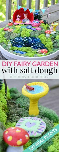 diy salt dough fairy garden is perfect all year around. No real plants in this fairy garden.