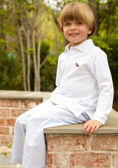 Chocolate Lab long sleeve Polo for boys. Only $32
