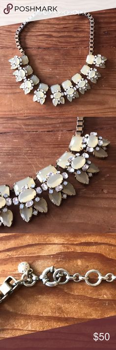 J.Crew Statement Necklace Goes with Everything! J.Crew Statement Necklace in excellent condition. White and cream-colored rhinestones. Goes with Everything! Some wear and fading to the metal but no flaws to stones. J. Crew Jewelry Necklaces